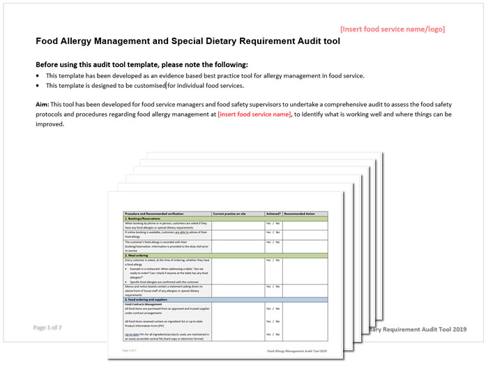 Food service food allergen audit tool