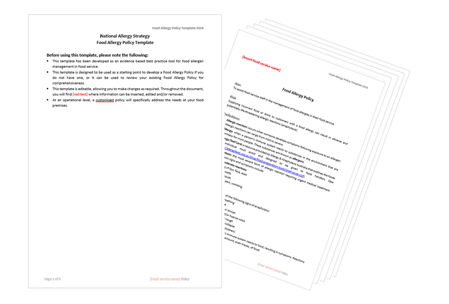 Food allergy and special dietary requirements policy template
