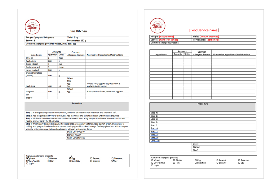Standardised recipe example and template