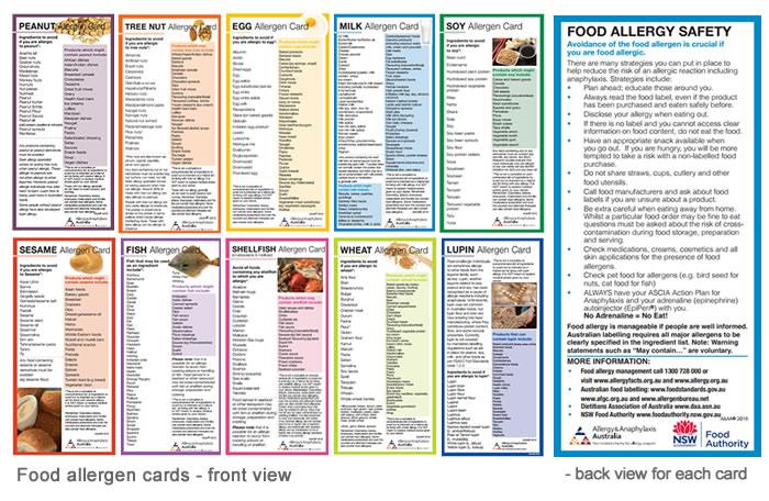 Food allergen cards