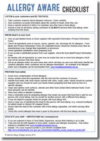 Allergy Aware Checklist