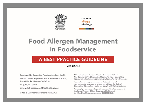 Food Allergen Management  in Foodservice - A BEST PRACTICE GUIDELINE
