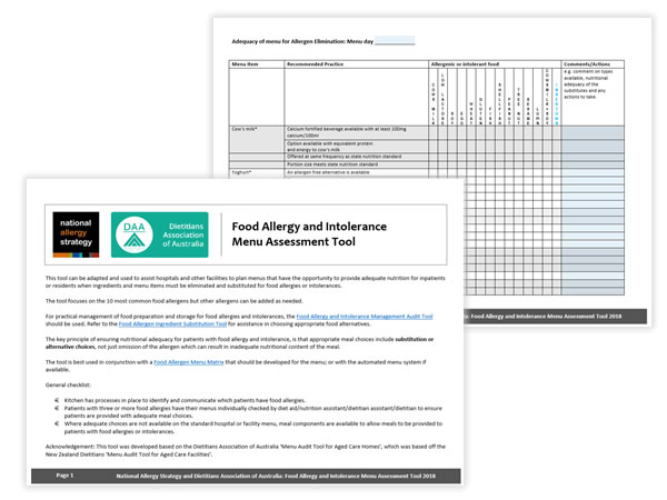 Food allergy and intolerance menu assessment tool