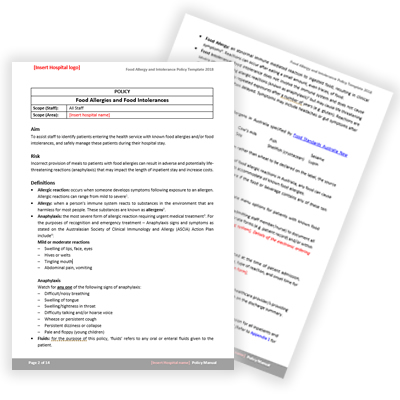 Food Allergy and Intolerance Policy Template