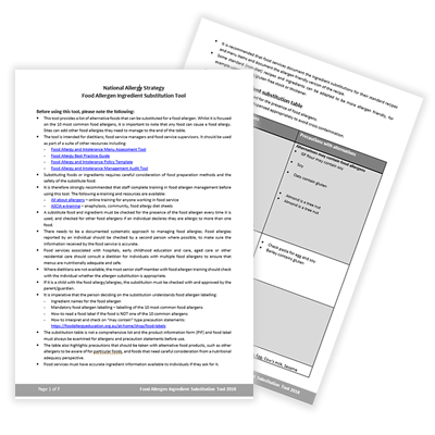 Food Allergy and Intolerance Substitution Tool